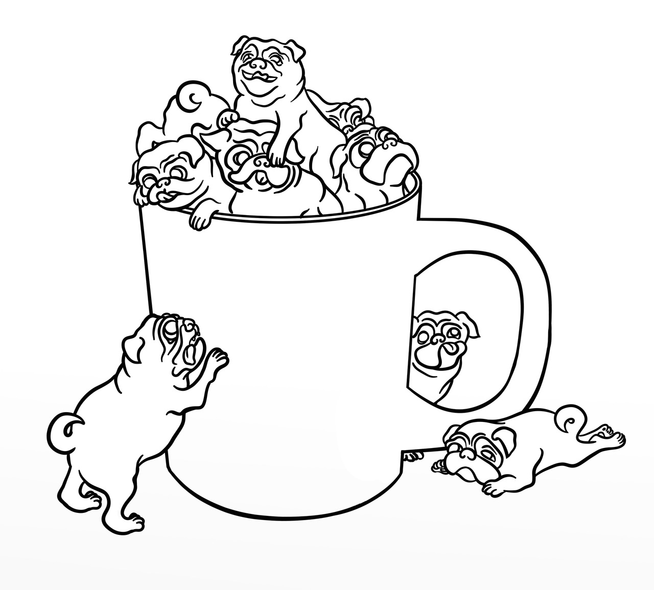cute pug coloring pages printable