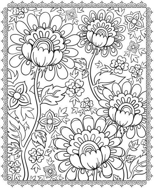 Hard Flowers Coloring Pages - Coloring Home | 604x494