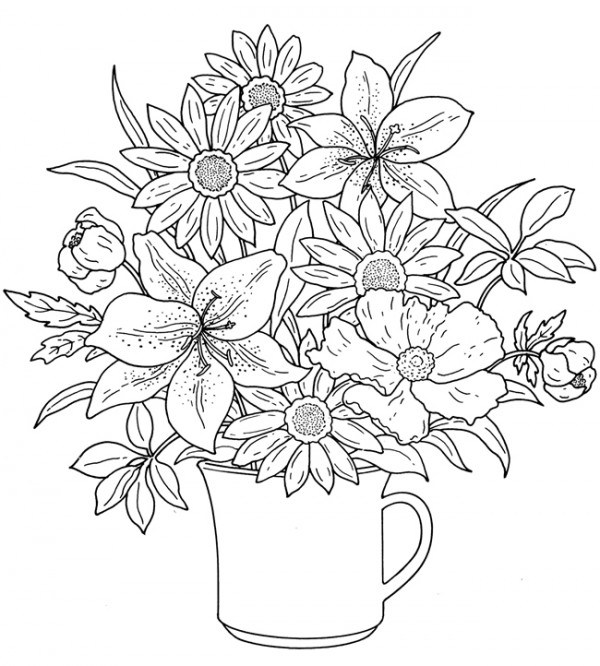 coloring pages printables flowers …. | Detailed coloring pages ... | 666x600