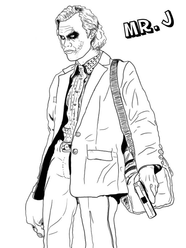 Line Art With Mr E : Joker coloring pages best for kids