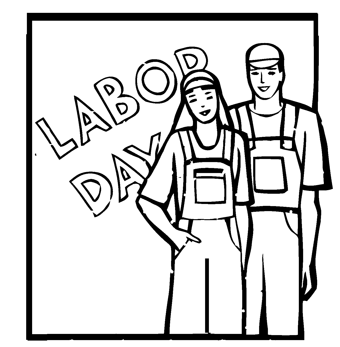 Printable Labor Day coloring page. Free PDF download at http ... | 1458x1429