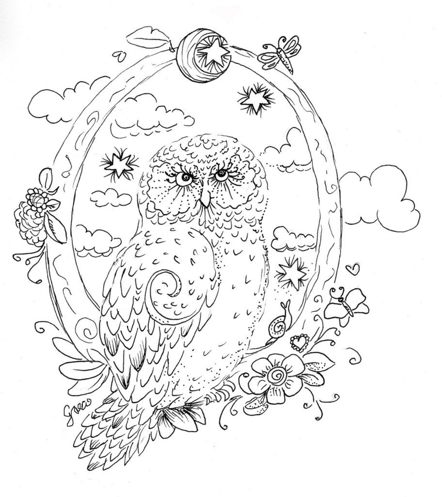 Printable Owl Coloring Page for Adults