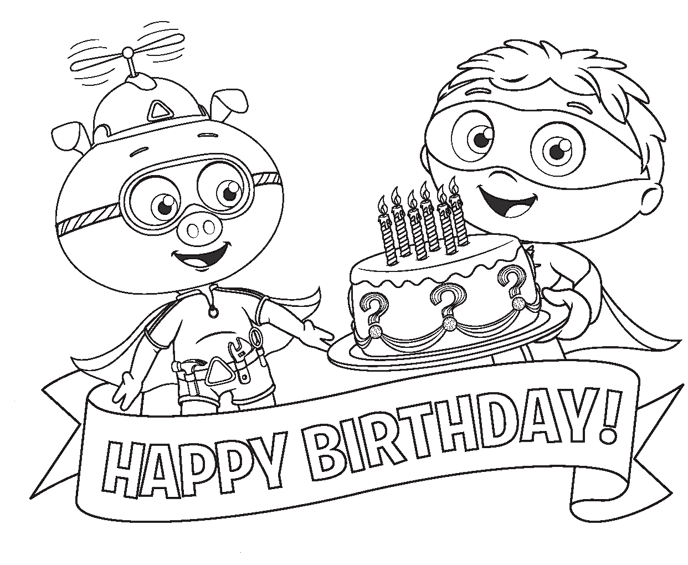 Super Why Coloring Pages - Happy Birthday