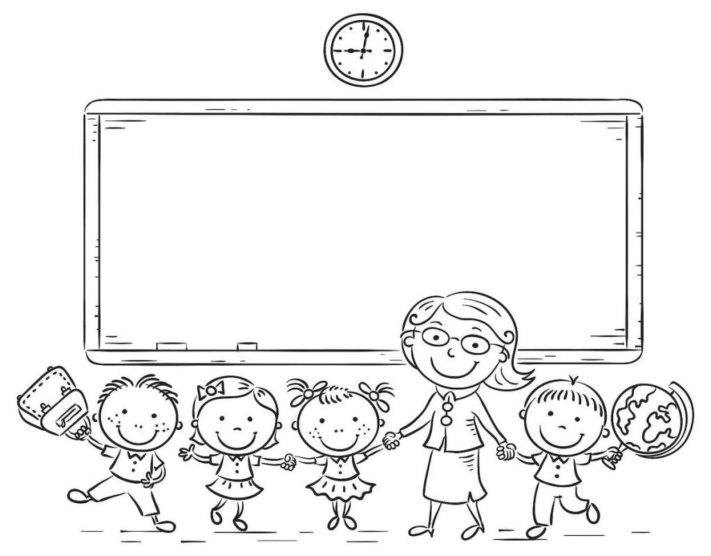 Teacher and Kids - Back to School Coloring Pages