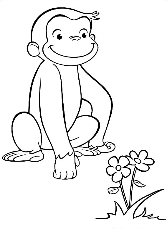 Curious George Coloring Pages Flowers