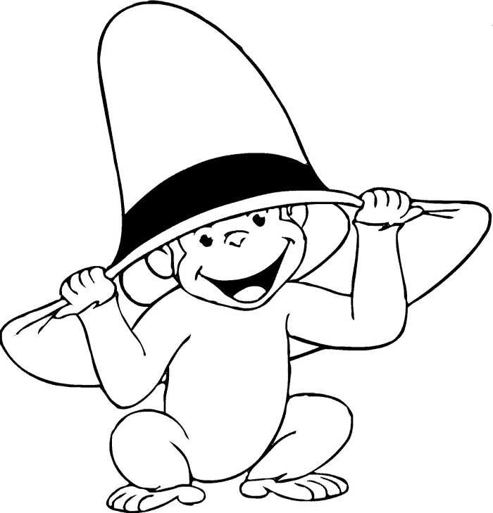 Curious George Coloring Pages Hat