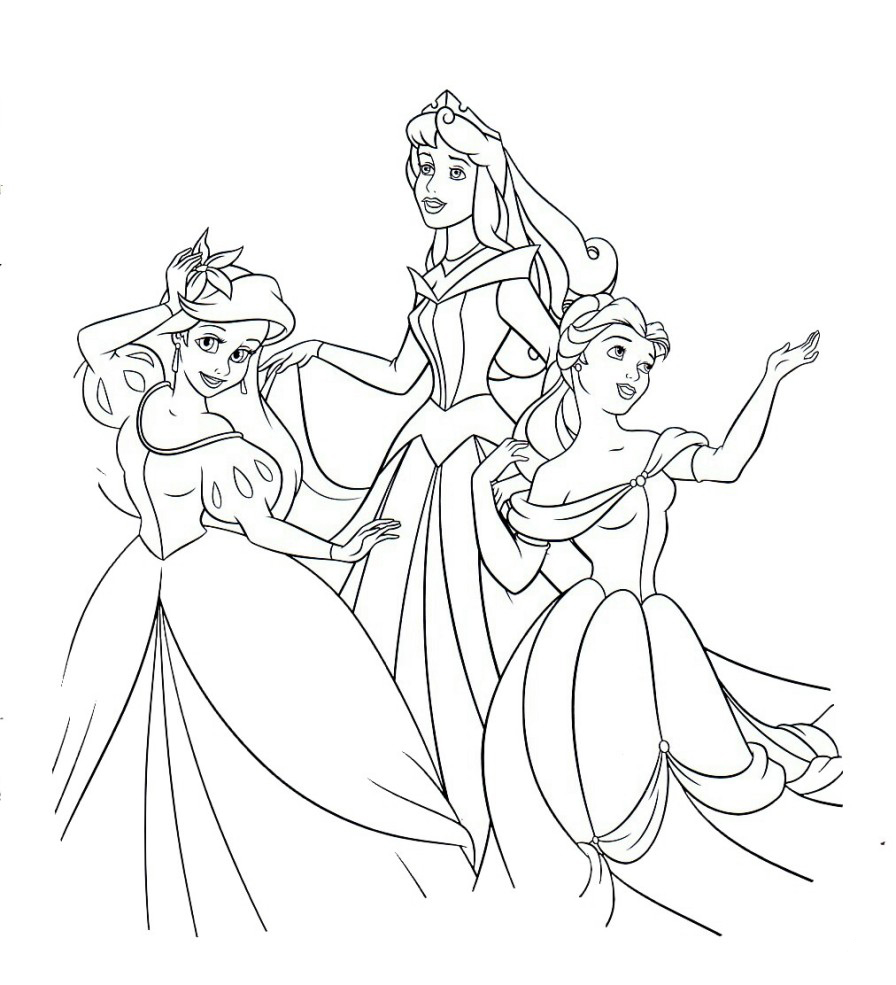3 Princesses Coloring Page