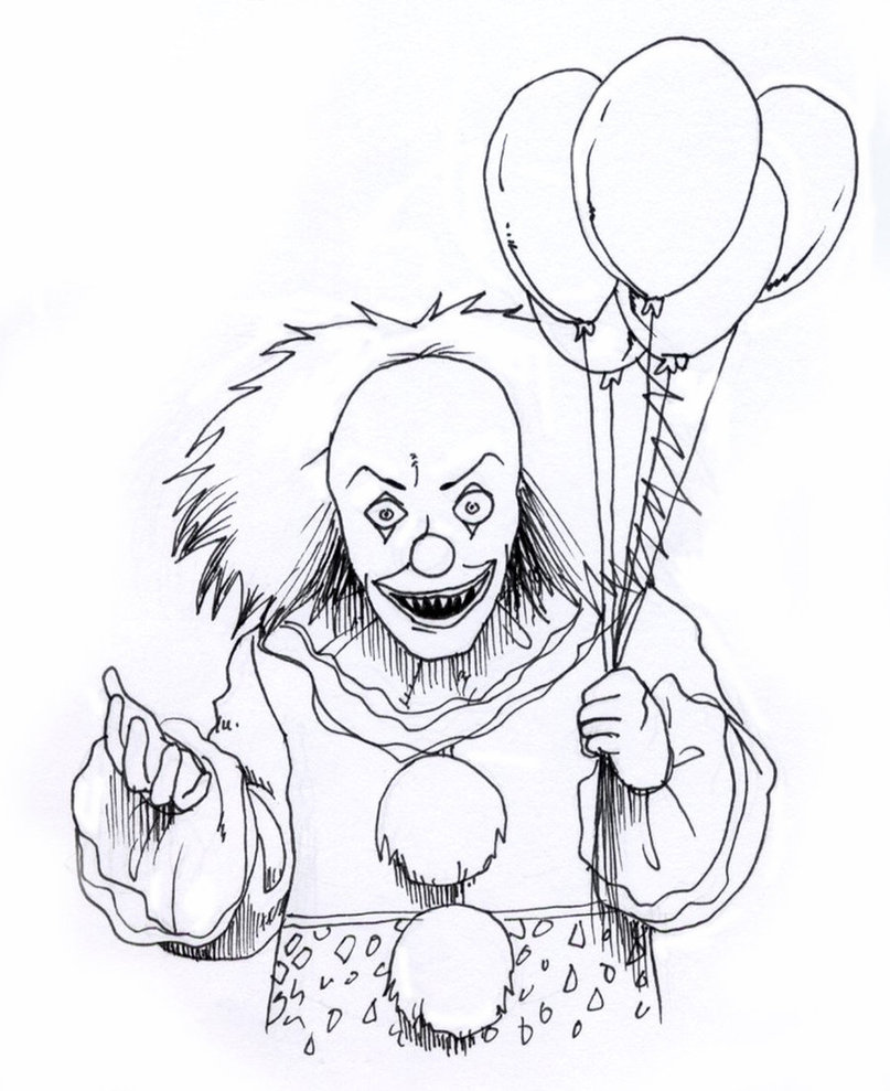 Creepy Clown - Scary Coloring Pages