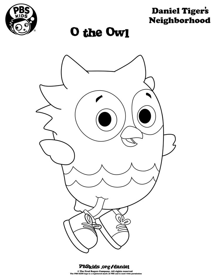 O the owl daniel tiger coloring pages
