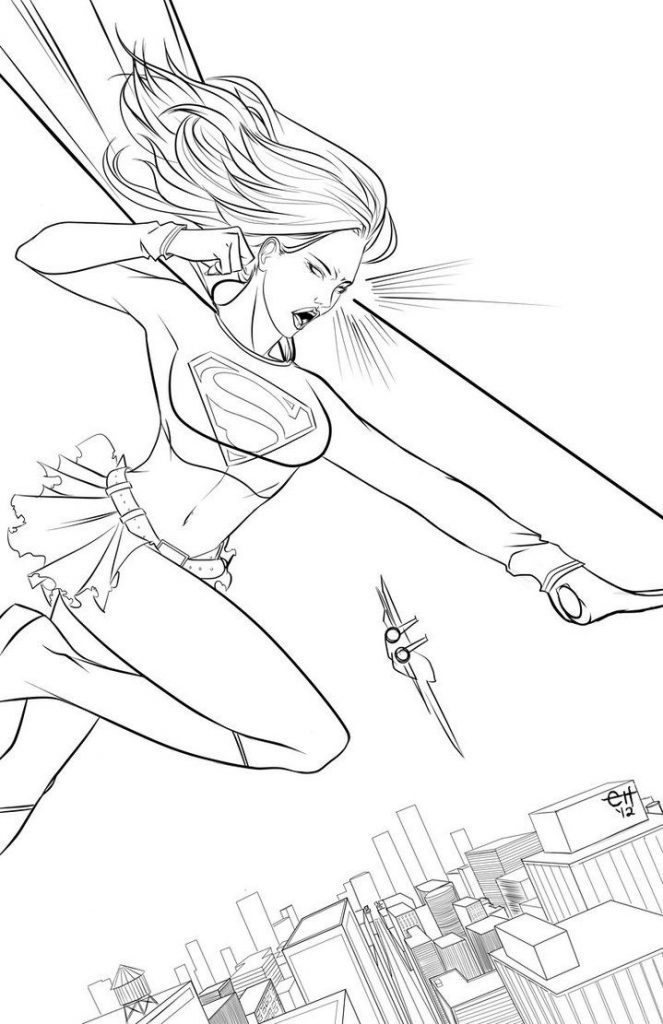Print Free Supergirl Coloring Pages