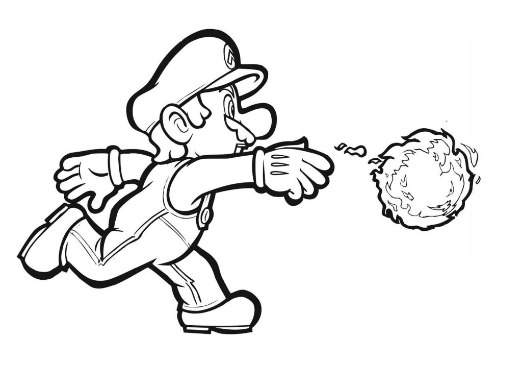 Super Mario Coloring Pages Fireball