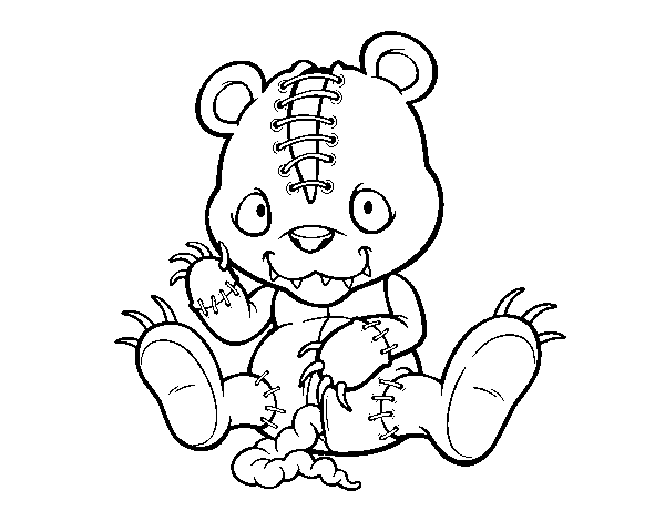 Tattered Teddy - Scary Coloring Pages