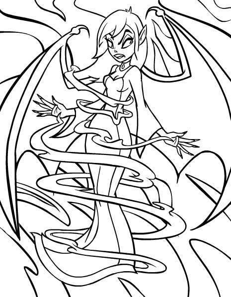 vampire girl scary coloring pages