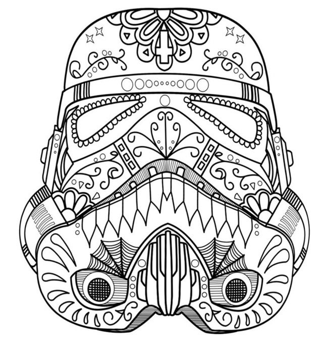 Darth Vader Sugar Skull Coloring Page