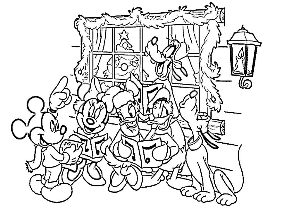 Disney Gang Christmas Coloring Page