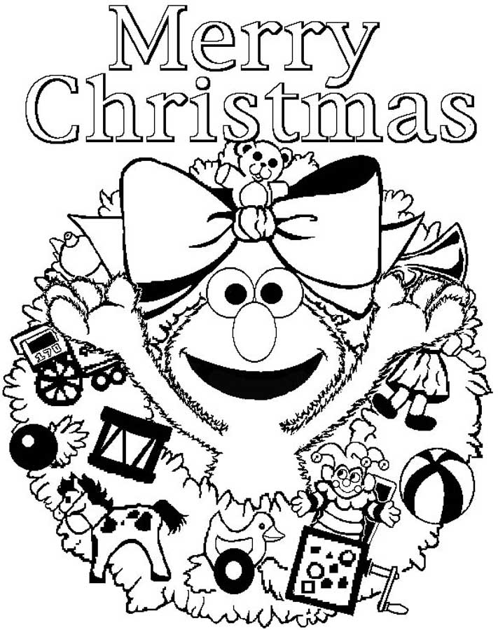 Elmos Merry Christmas Coloring Page