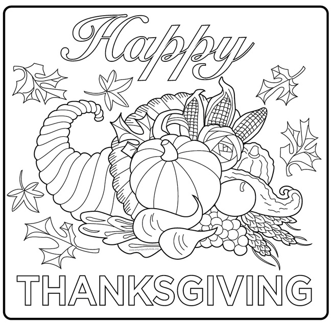 Happy Thanksgiving Harvest Coloring Pages
