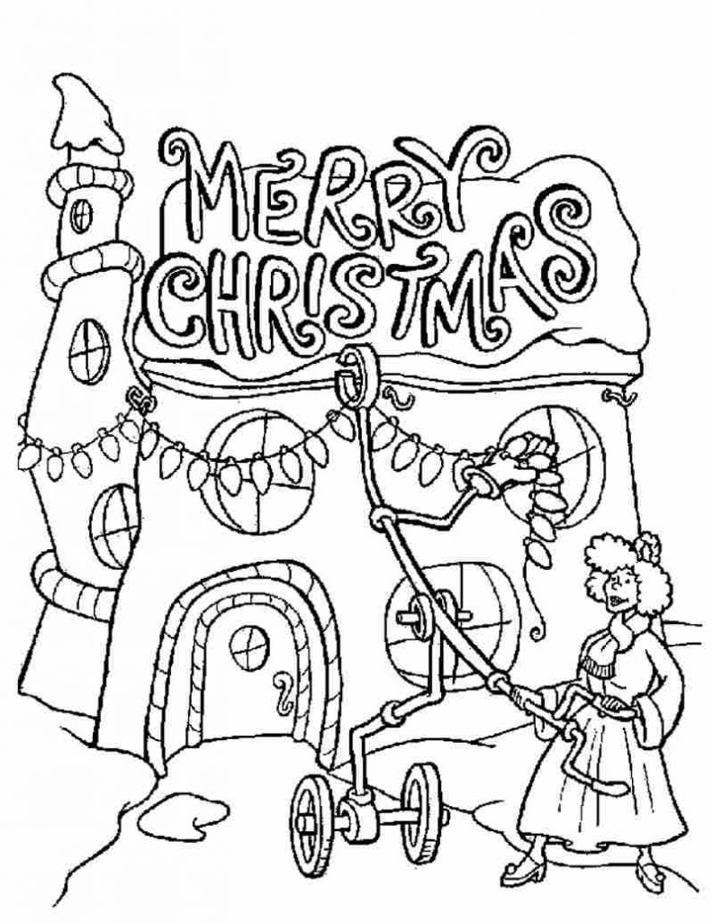 Merry Christmas Decorations Coloring Page