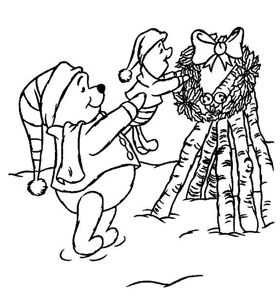 Poohs wreath - Disney Christmas Coloring Pages