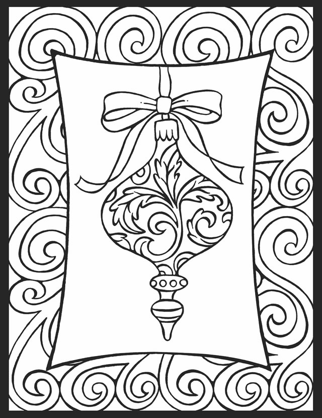 simple ornament christmas coloring pages for adults