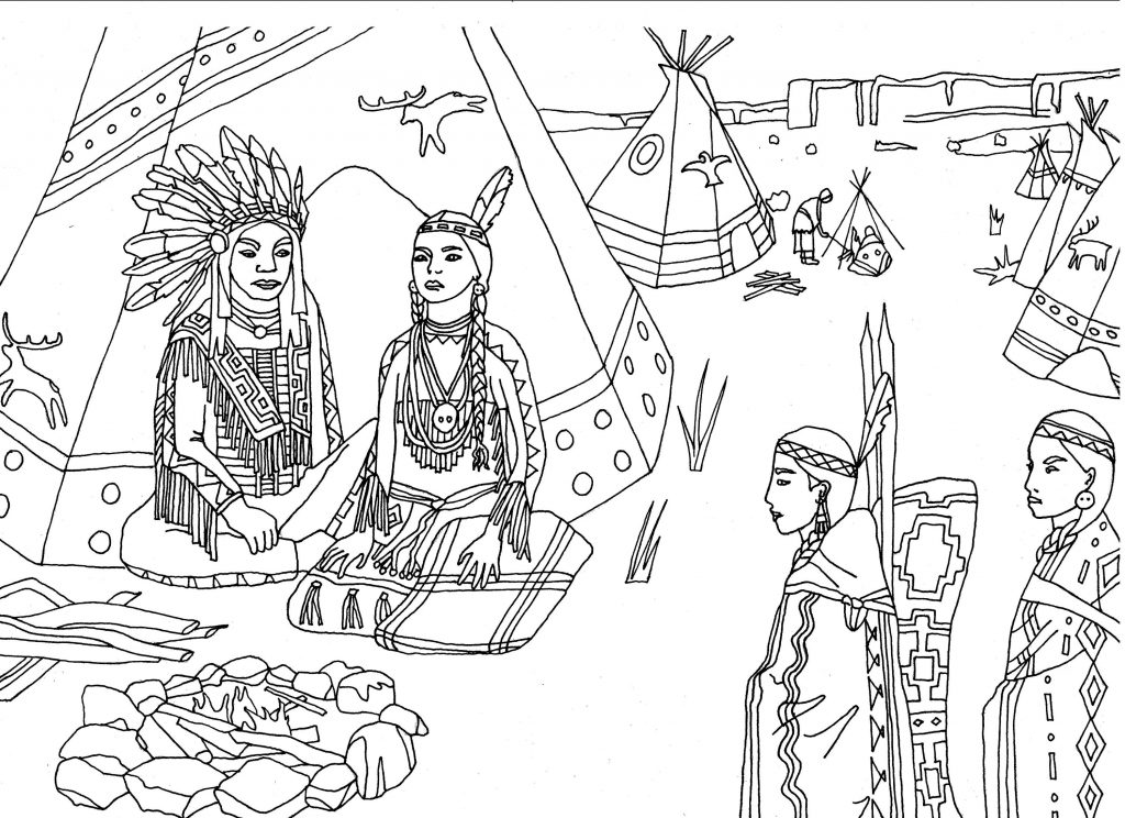 Village - Indian Coloring Page