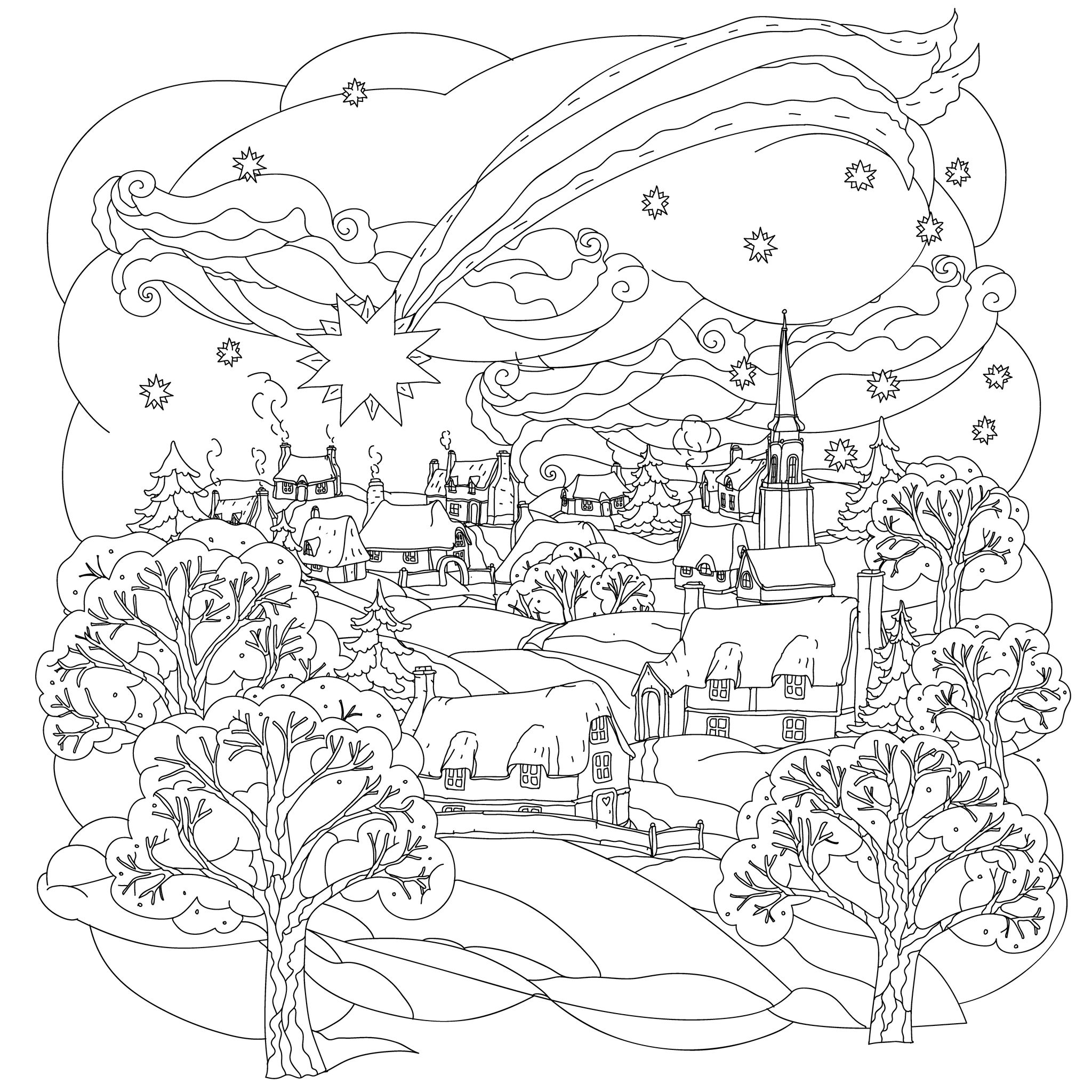 winter scene christmas coloring pages for adults