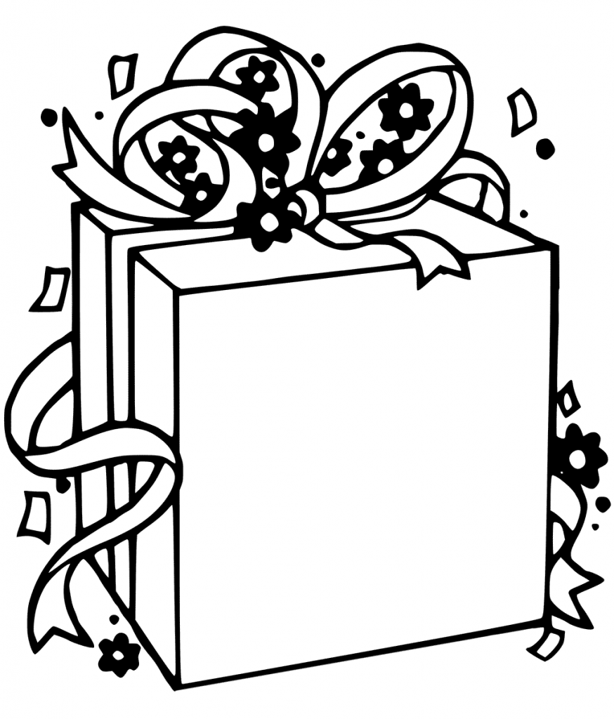 Blank Christmas Present Coloring Page