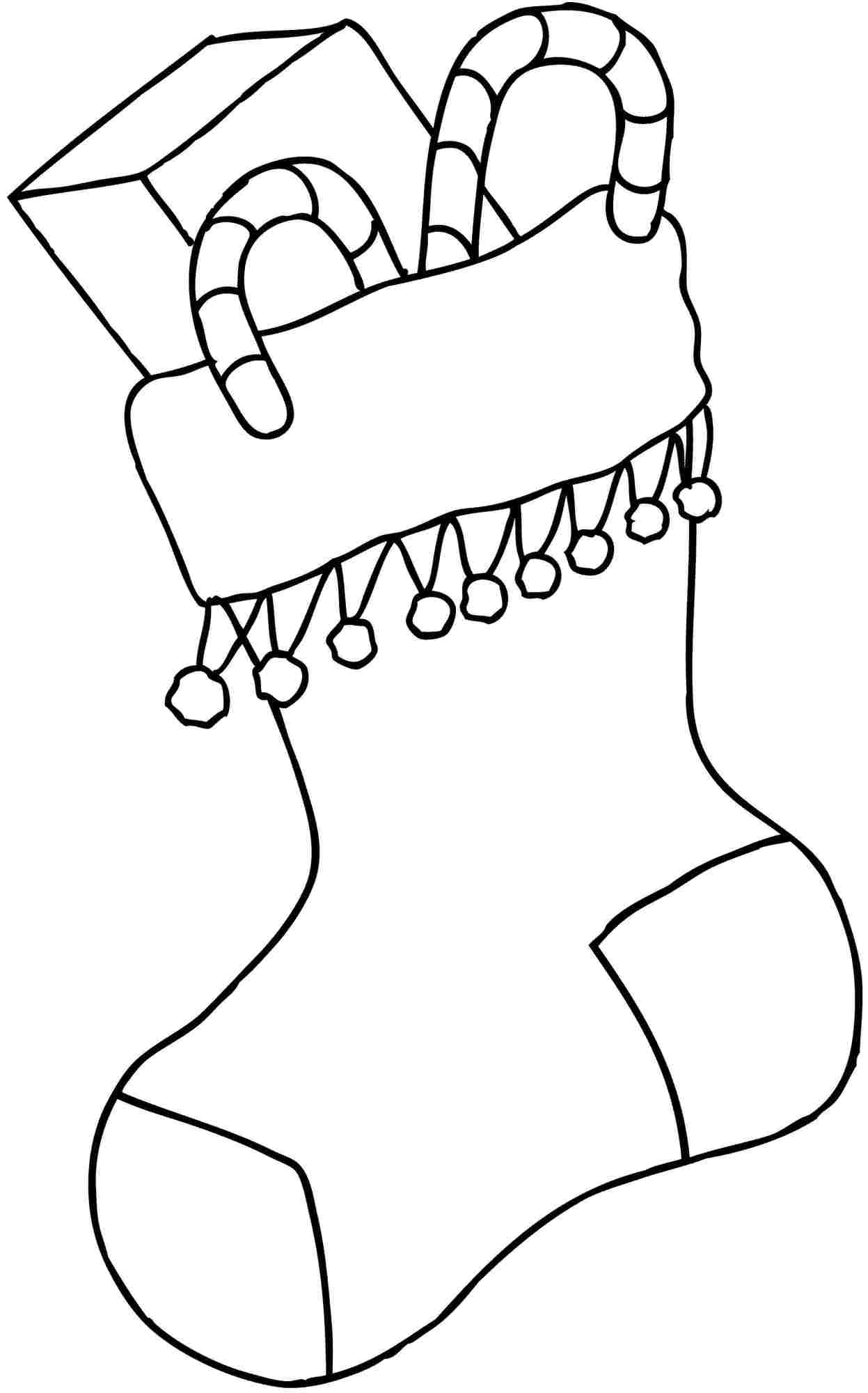 candy canes christmas stocking coloring pages