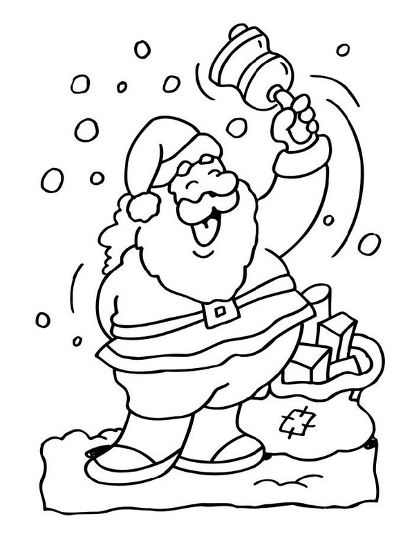 Christmas Bell - Santa Coloring Pages