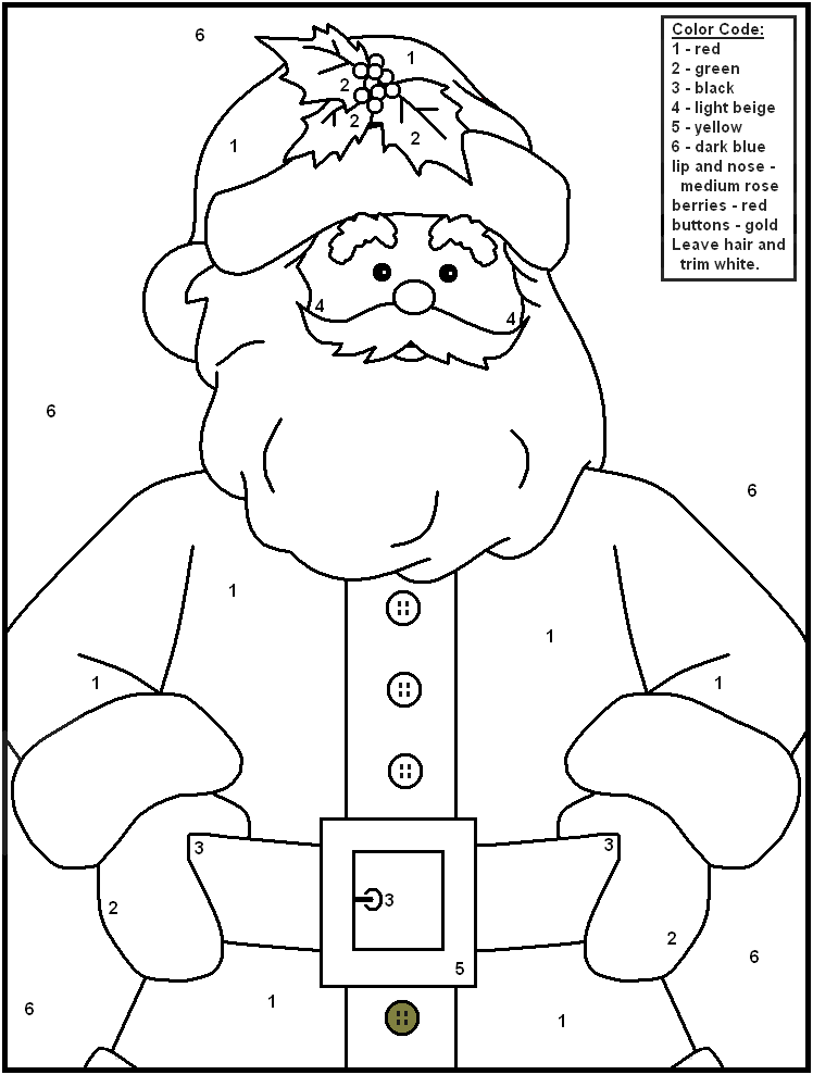 Christmas Color By Numbers - Santa