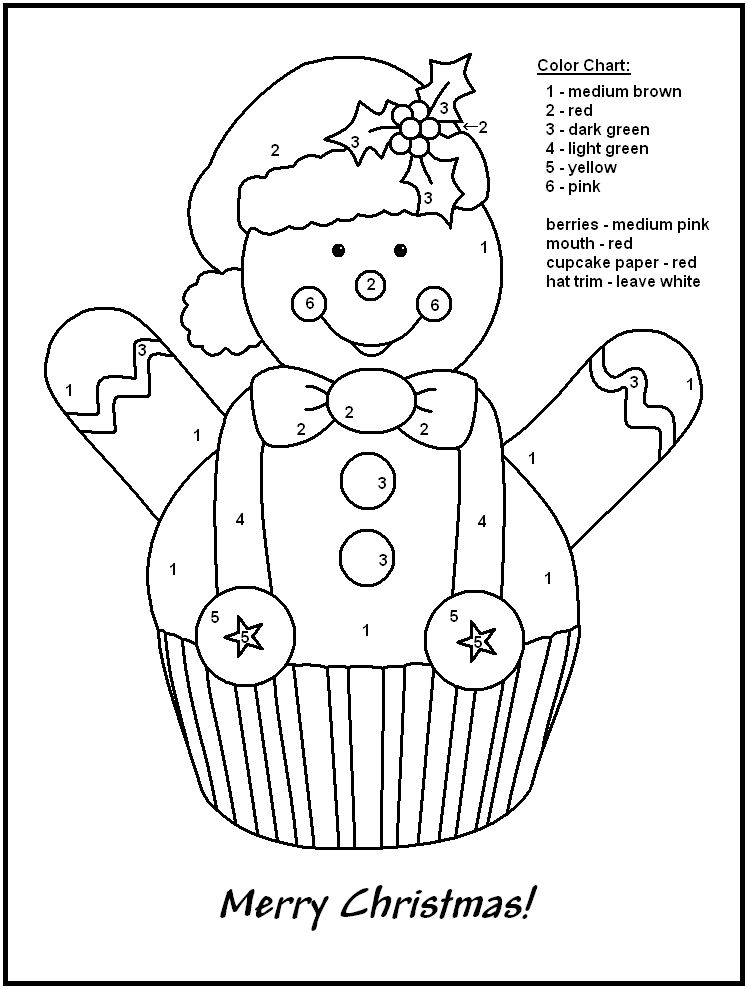 Christmas Color By Numbers - Snowman Cupcake