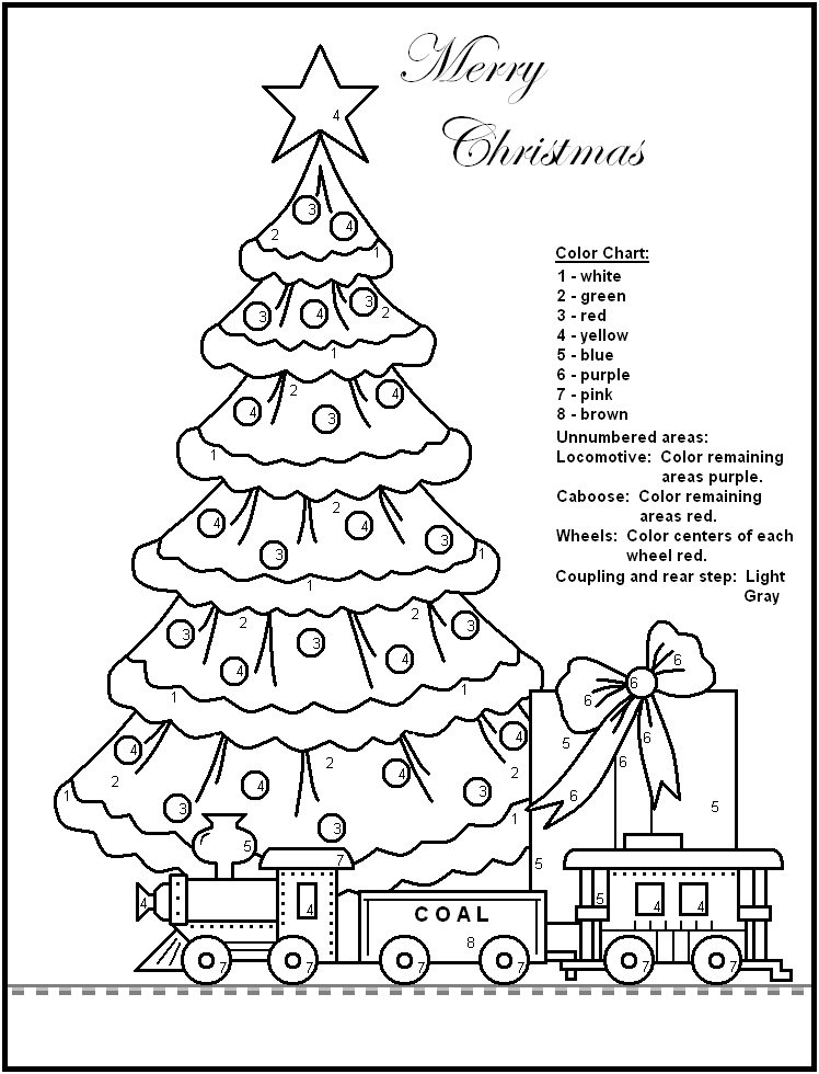 Christmas coloring by number pages ~ Printable Christmas Games for Kids AND Adults