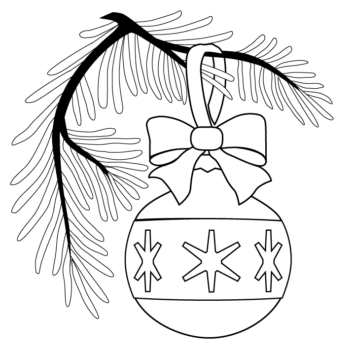Christmas Ornament On Tree Coloring Page