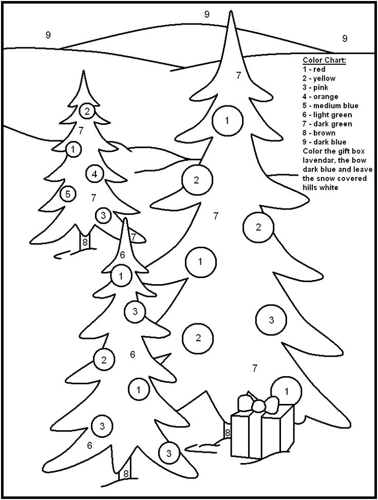 Christmas Trees - Christmas Color By Numbers