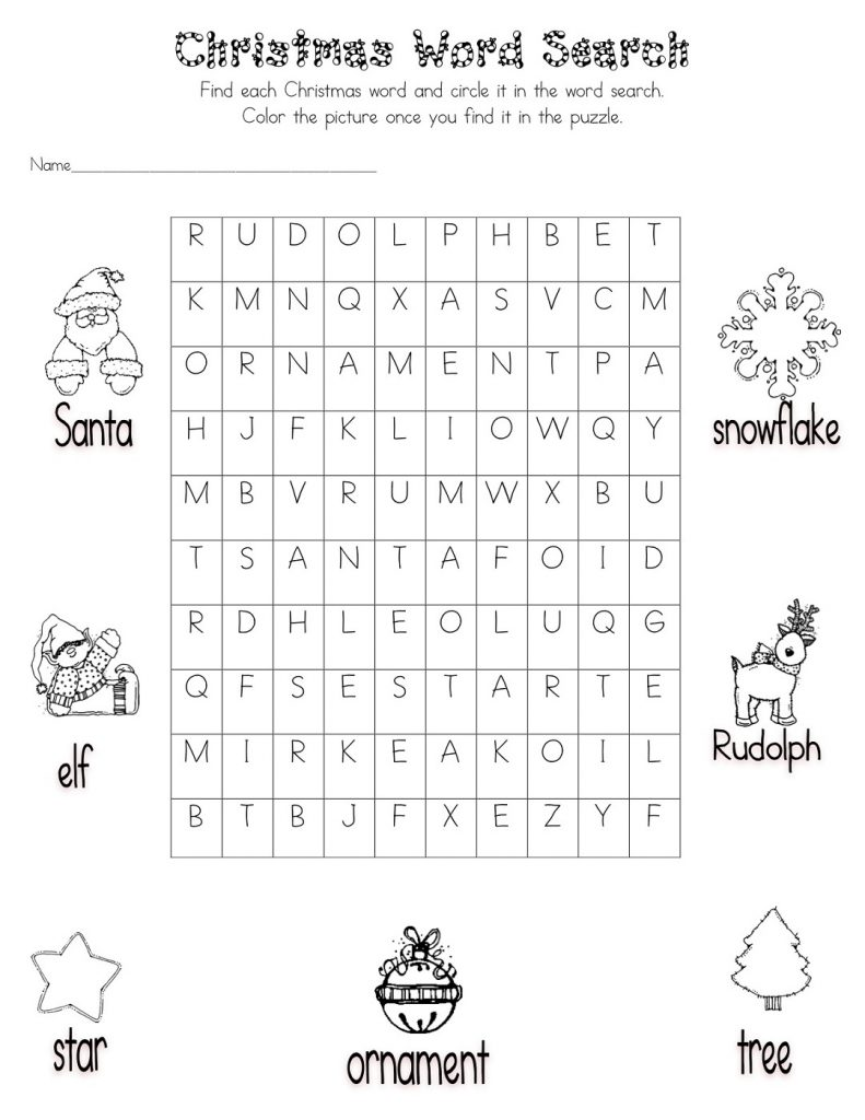 Christmas Word Search Best Coloring