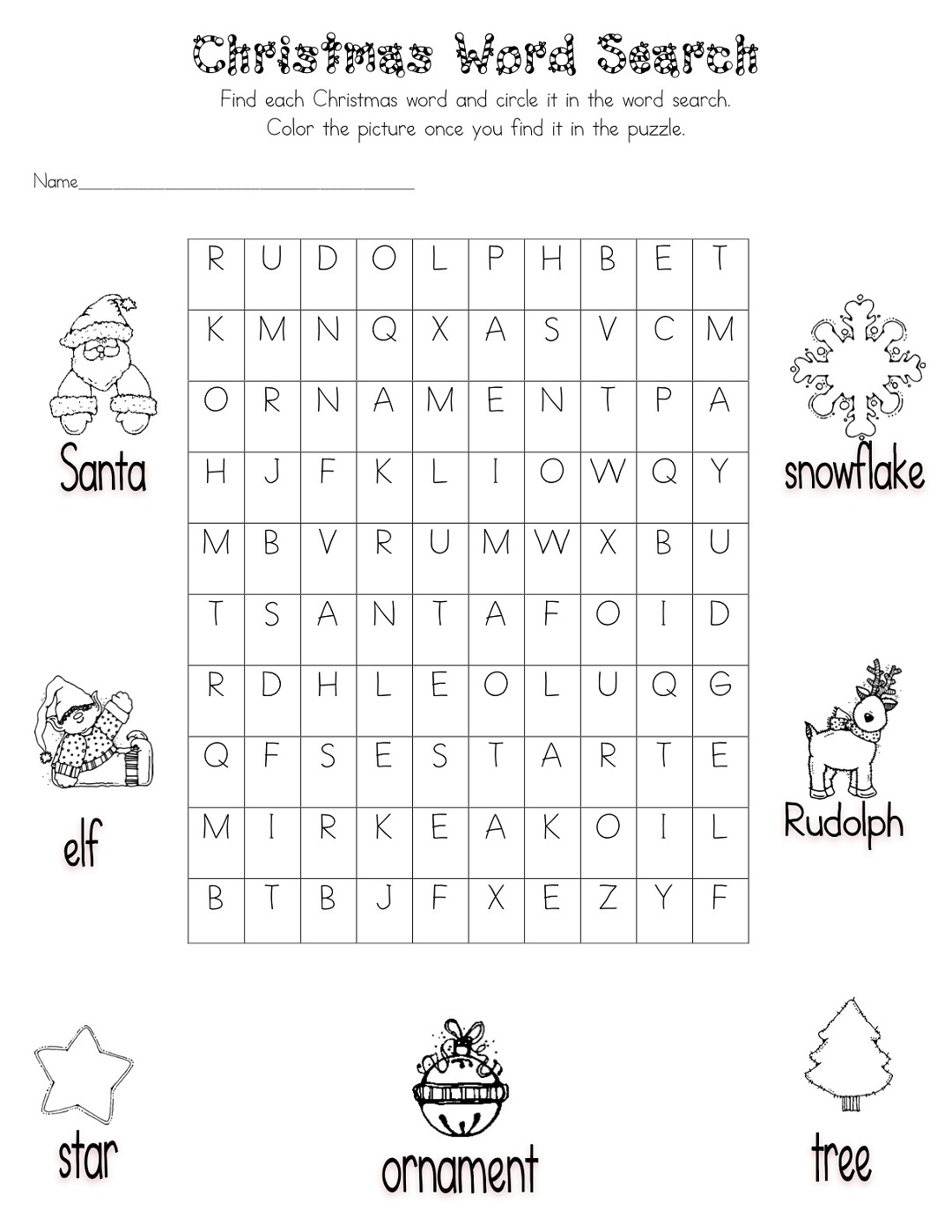 Christmas Word Search for Kids