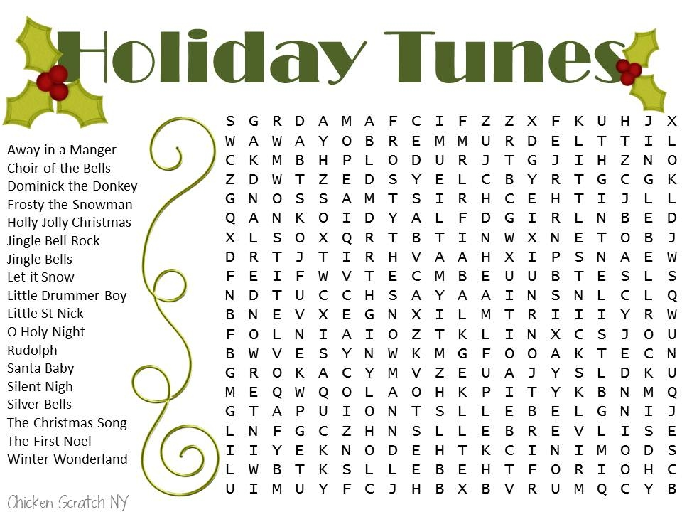 Christmas Word Search - Christmas Songs