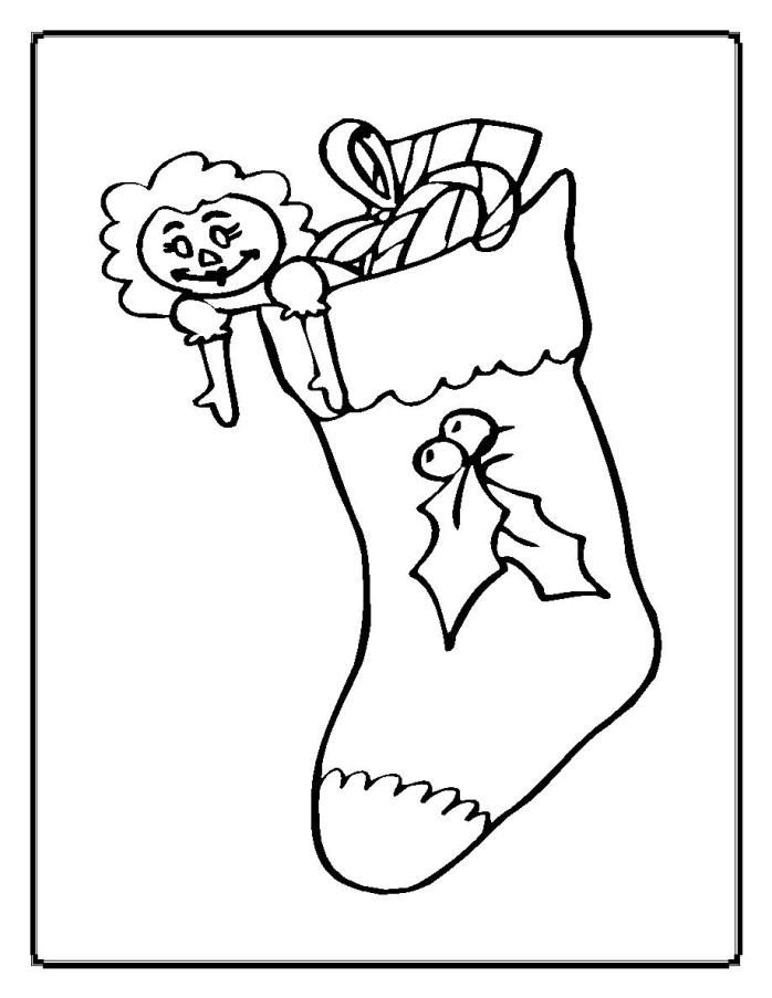 Dolly in Christmas Stocking Coloring Pages