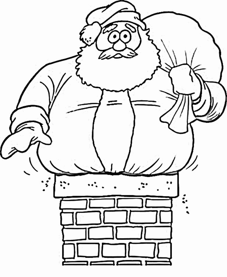 down the chimney santa coloring pages