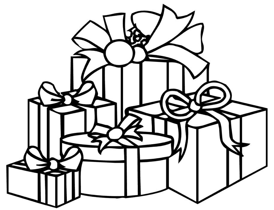 Gift Boxes Coloring Page
