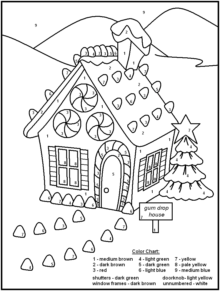 Gingerbread House - Christmas Color By Numbers