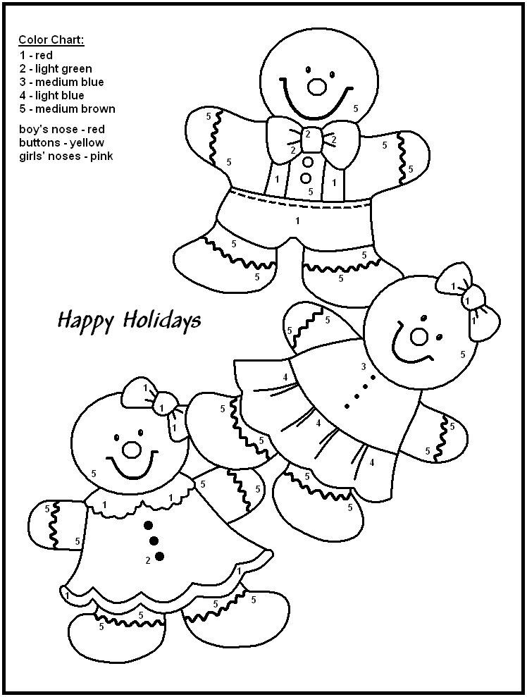 Gingerbread People - Christmas Color By Numbers