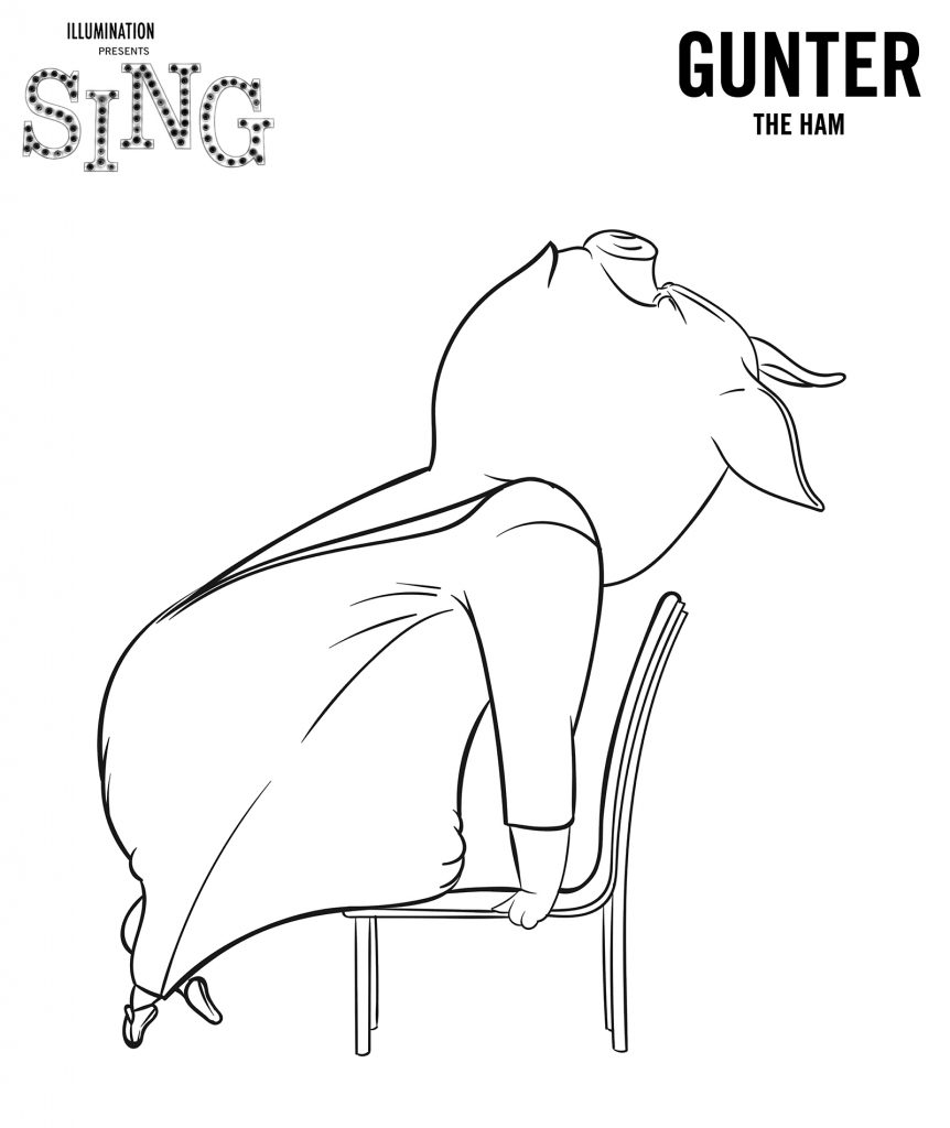 Gunter from Sing Coloring Page