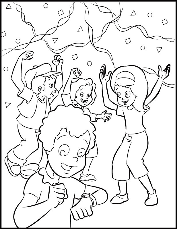 Kids - Happy New Year Coloring Pages