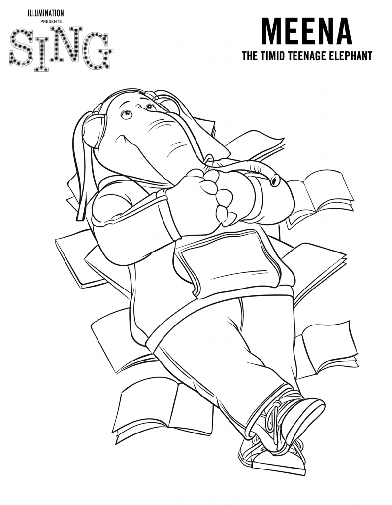 Meena from Sing Coloring Page