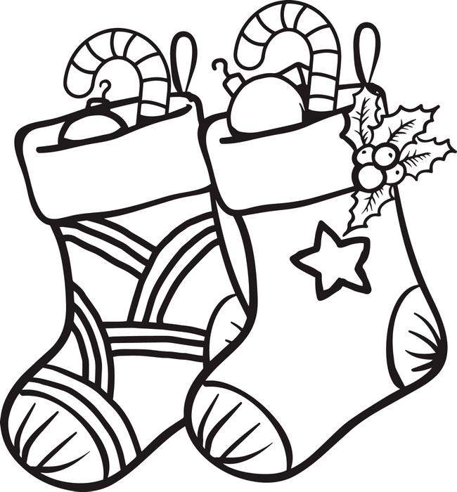 Pair of Christmas Stockings Coloring Page