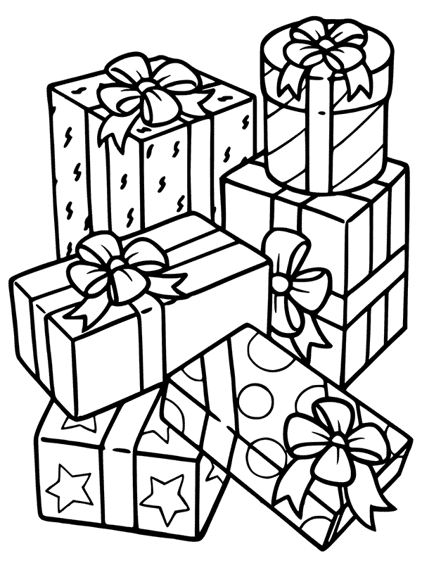Pile Of Christmas Presents Coloring Page