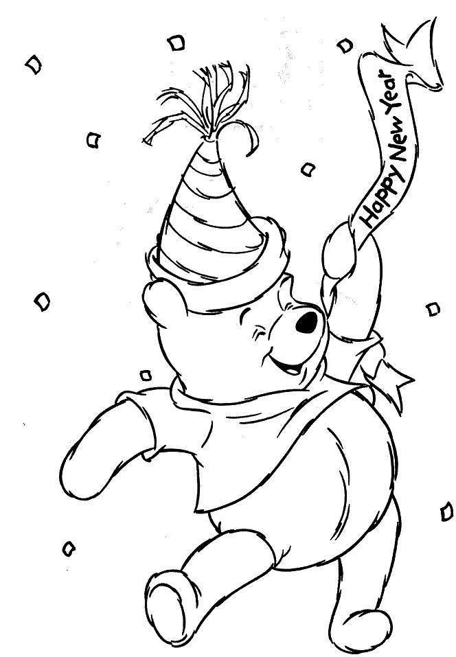 Pooh Bear - Happy New Year Coloring Pages