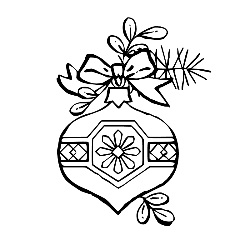 Pretty Christmas Ornament Coloring Page Printables