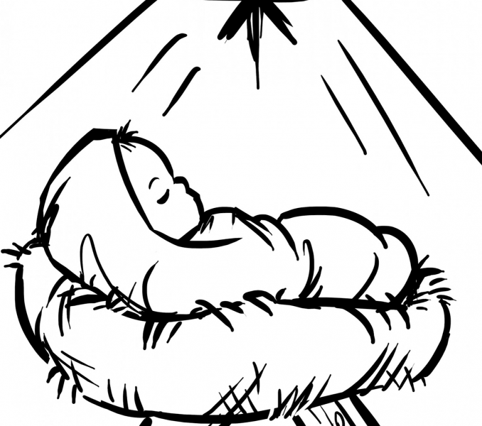 Coloring Page Of Baby Jesus And Mary